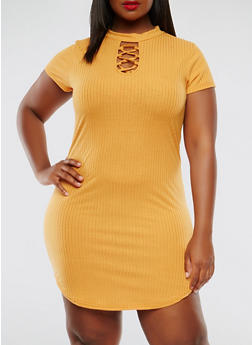Plus Size Short Sleeve Choker Neck Dress - 1390038348714