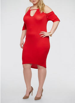 Plus Size Rib Knit Cold Shoulder Dress - RED - 1390038348715