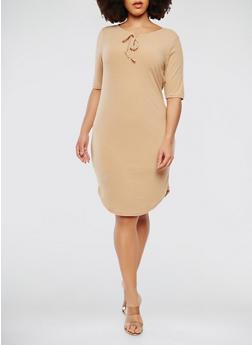 Plus Size Ribbed Knit Short Sleeve Midi Dress - 1390038348719