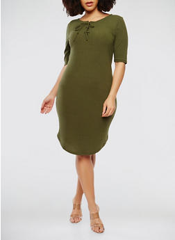Plus Size Ribbed Knit Short Sleeve Midi Dress - 1390038348719