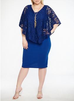 Plus Size Lace Overlay Dress - 1390038348749