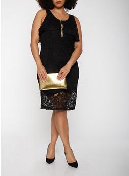 Plus Size Lace Midi Dress - BLACK - 1390038348755