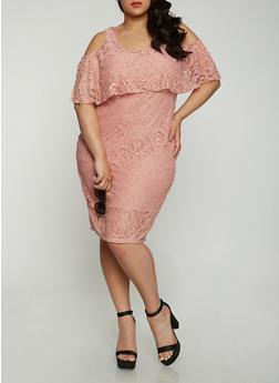 Plus Size Lace Midi Dress - MAUVE - 1390038348755