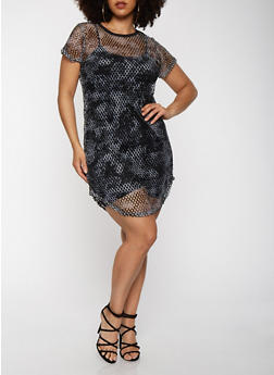 Plus Size Tie Dye Fishnet Dress - 1390038348777