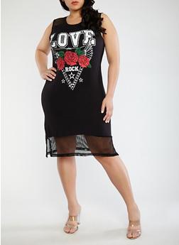 Plus Size Love Graphic Fishnet Trim Dress - 1390038348781