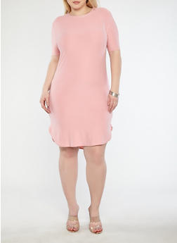 Plus Size Basic Soft Knit T Shirt Dress - 1390038348804