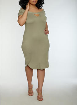 Plus Size Soft Knit Off the Shoulder Dress - 1390038348808