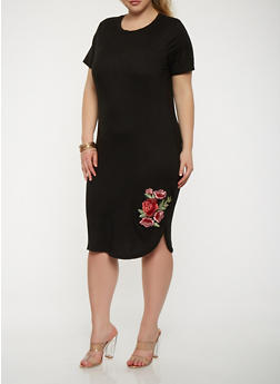 Plus Size Short Sleeve T Shirt Dress with Floral Applique - 1390038348813