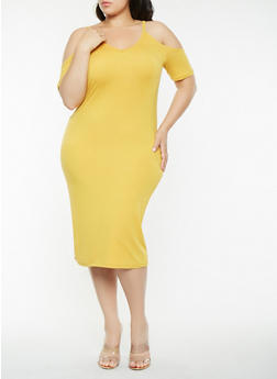 Plus Size Cold Shoulder Midi Dress - 1390038348814