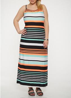 Plus Size Striped Tank Maxi Dress - 1390038348850