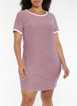 Plus Size Striped T Shirt Dress - 1390038348852