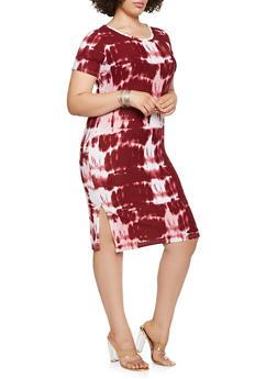 Plus Size Tie Dye T Shirt Dress - 1390038348854