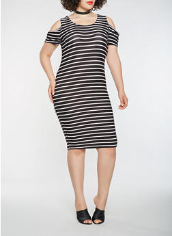 Plus Size Striped Cold Shoulder Midi Dress - WHT-BLK - 1390038348857