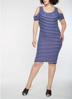 Plus Size Striped Cold Shoulder Midi Dress - 1390038348857