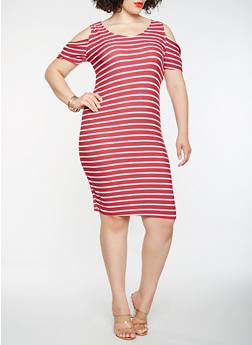 Plus Size Striped Cold Shoulder Midi Dress - BURGUNDY - 1390038348857