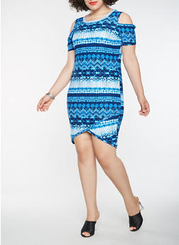 Plus Size Printed Cold Shoulder Dress - 1390038348858
