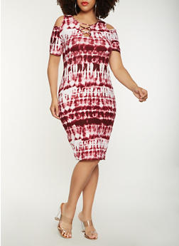 Plus Size Tie Dye Cold Shoulder Dress - 1390038348863