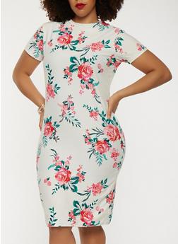 Plus Size Soft Knit Floral Short Sleeve Dress - 1390038348864