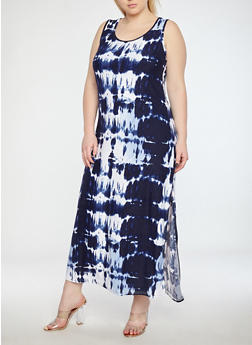 Plus Size Soft Knit Tie Dye Maxi Dress - 1390038348901
