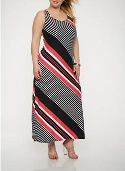 Plus Size Striped Tank Maxi Dress - 1390038348906