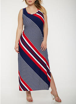 Plus Size Striped Tank Maxi Dress - 1390038348906
