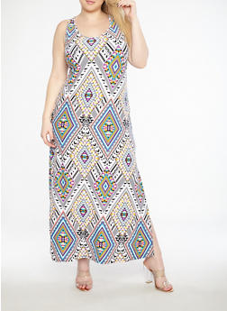 Plus Size Geometric Print Tank Maxi Dress - 1390038348909
