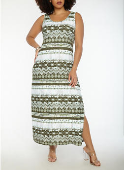 Plus Size Printed Tank Maxi Dress - 1390038348914