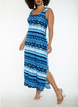 Plus Size Printed Soft Knit Maxi Dress - 1390038348914