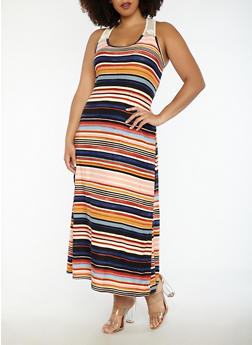 Plus Size Striped Tank Maxi Dress with Crochet Trim - 1390038348922