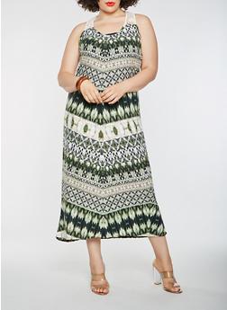 Plus Size Printed Crochet Trim Tank Maxi Dress - 1390038348924