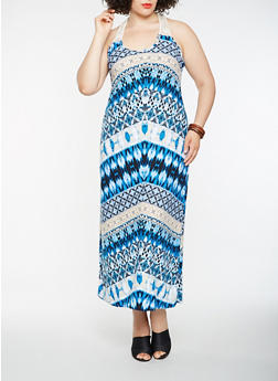 Plus Size Printed Crochet Trim Tank Maxi Dress - 1390038348924