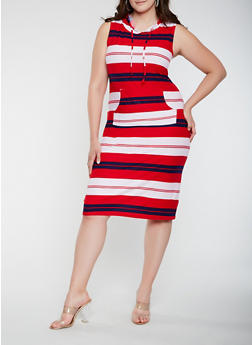 Plus Size Striped Hooded Tank Dress - 1390038348930
