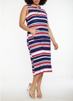 Plus Size Striped Soft Knit Hooded Dress - 1390038348931