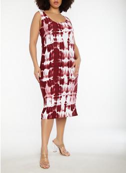 Plus Size Tie Dye Dress - 1390038348934