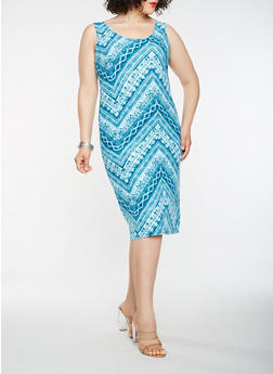 Plus Size Printed Midi Tank Dress - 1390038348937