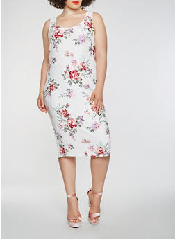 Plus Size Soft Knit Floral Midi Tank Dress - 1390038348938