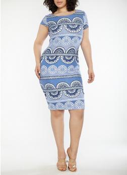Plus Size Printed Soft Knit T Shirt Dress - 1390038348955