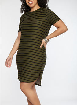 Plus Size Striped Soft Knit T Shirt Dress - 1390038348970