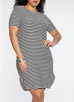 Plus Size Striped T Shirt Dress - 1390038348972