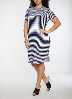 Plus Size Striped T Shirt Dress - NAVY/WHITE - 1390038348972