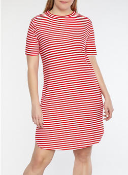 Plus Size Striped T Shirt Dress - WHITE/RED - 1390038348972