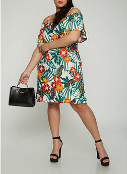 Plus Size Printed Off the Shoulder Dress - 1390038348975