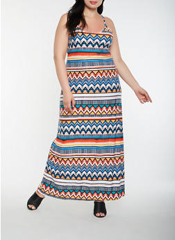 Plus Size Aztec Pattern Tank Maxi Dress - 1390038348976