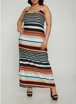 Plus Size Striped Tank Maxi Dress - 1390038348977