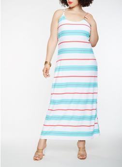 Plus Size Striped Tank Maxi Dress - 1390038348981
