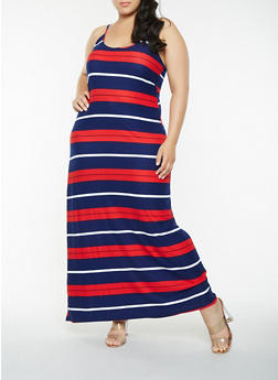 Plus Size Striped Tank Maxi Dress - 1390038348981