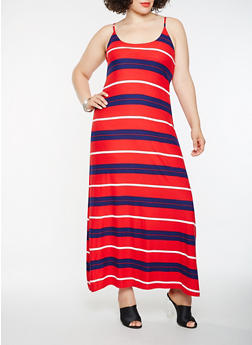 Plus Size Striped Tank Maxi Dress - RED - 1390038348981