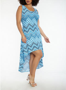Plus Size Printed High Low Tank Dress - 1390038348982