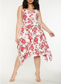 Plus Size Printed Asymmetrical Dress - 1390038348987