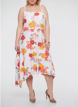 Plus Size Soft Knit Floral Dress - 1390038348988